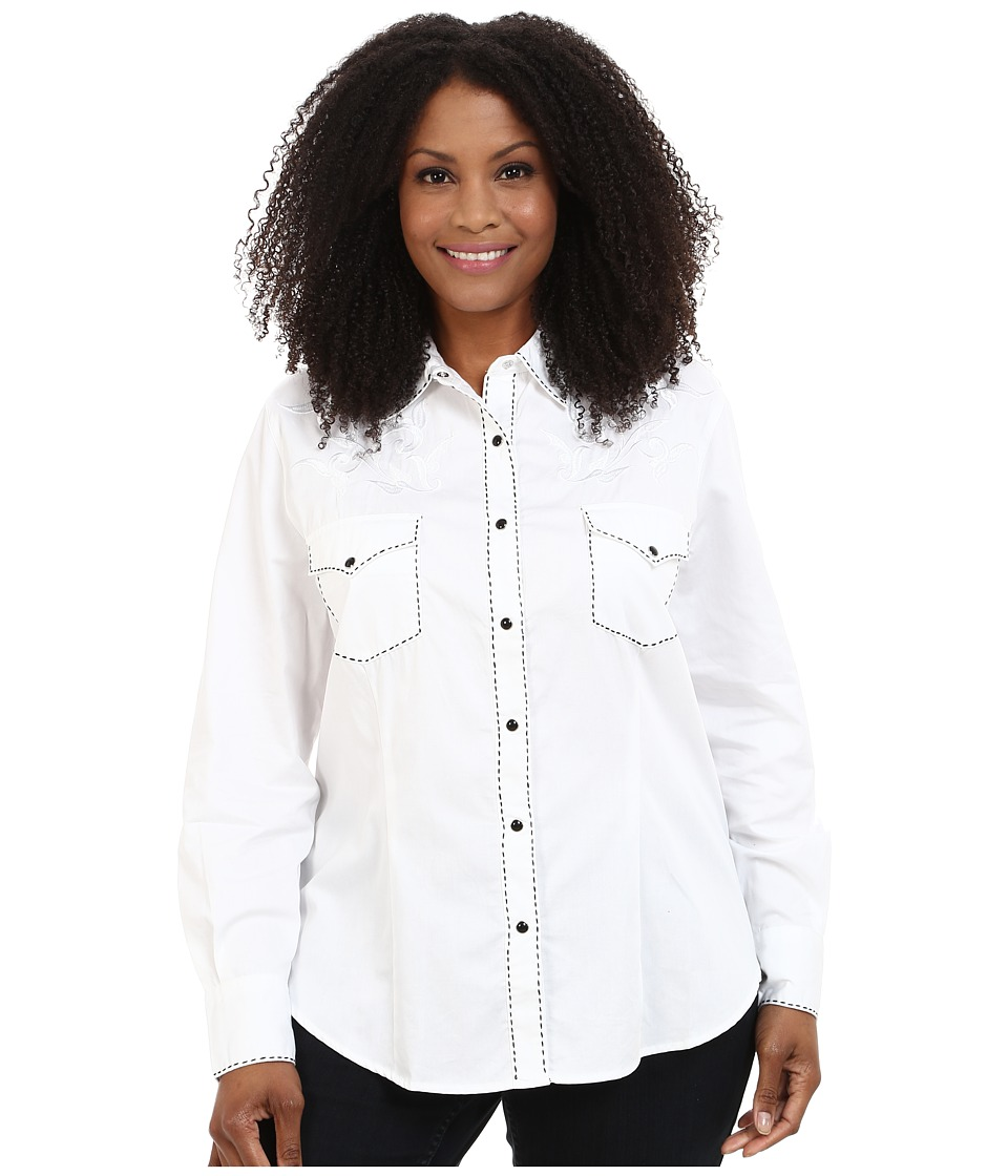 Roper - Plus Size 100 Contrast Twill w/ Tonal Victorian Emb (White) Women's Clothing