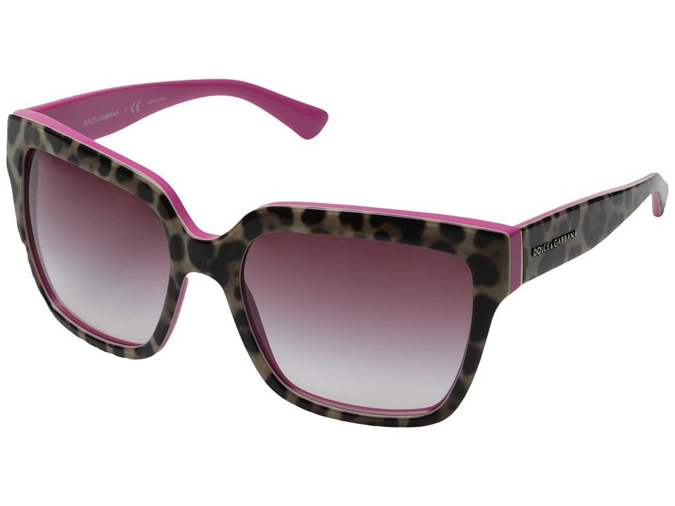Dolce & Gabbana - 0DG4234 (Top Leopard/Fuxia/Violet Gradient) Fashion Sunglasses