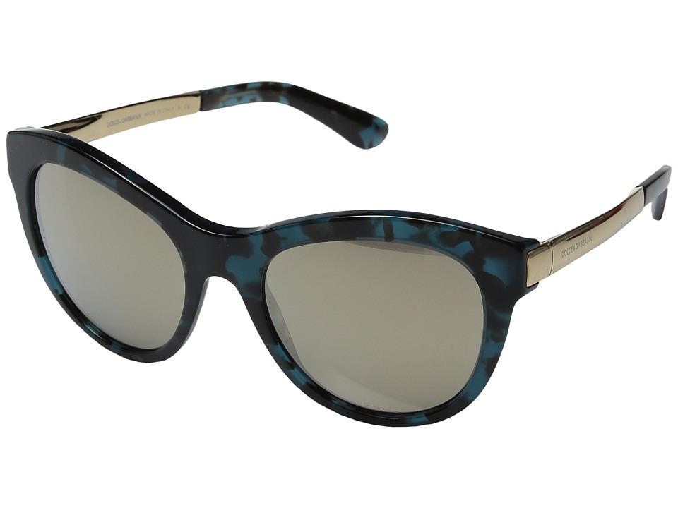 Dolce & Gabbana - 0DG4243 (Petroleum/Light Brown Mirror Gold) Fashion Sunglasses