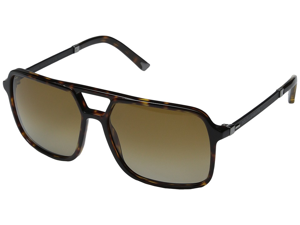 Dolce & Gabbana - 0DG4241 (Havana/Polarized Brown Gradient) Fashion Sunglasses