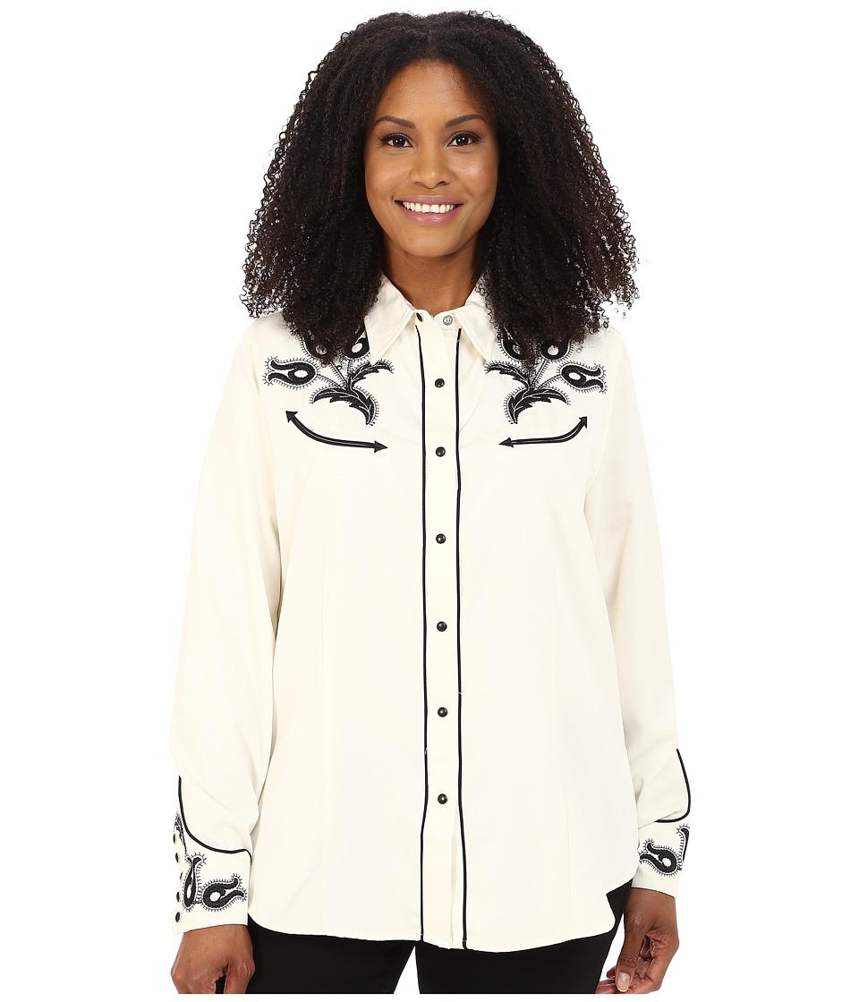 Roper - Plus Size 65P/35C Twill w/ Vintage Leaf Emb 9630 (White) Women's Clothing