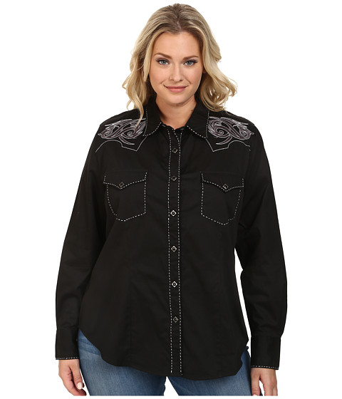 Roper - Plus Size 100 Contrast Twill w/ Tribal Keystone Emb (Black) Women