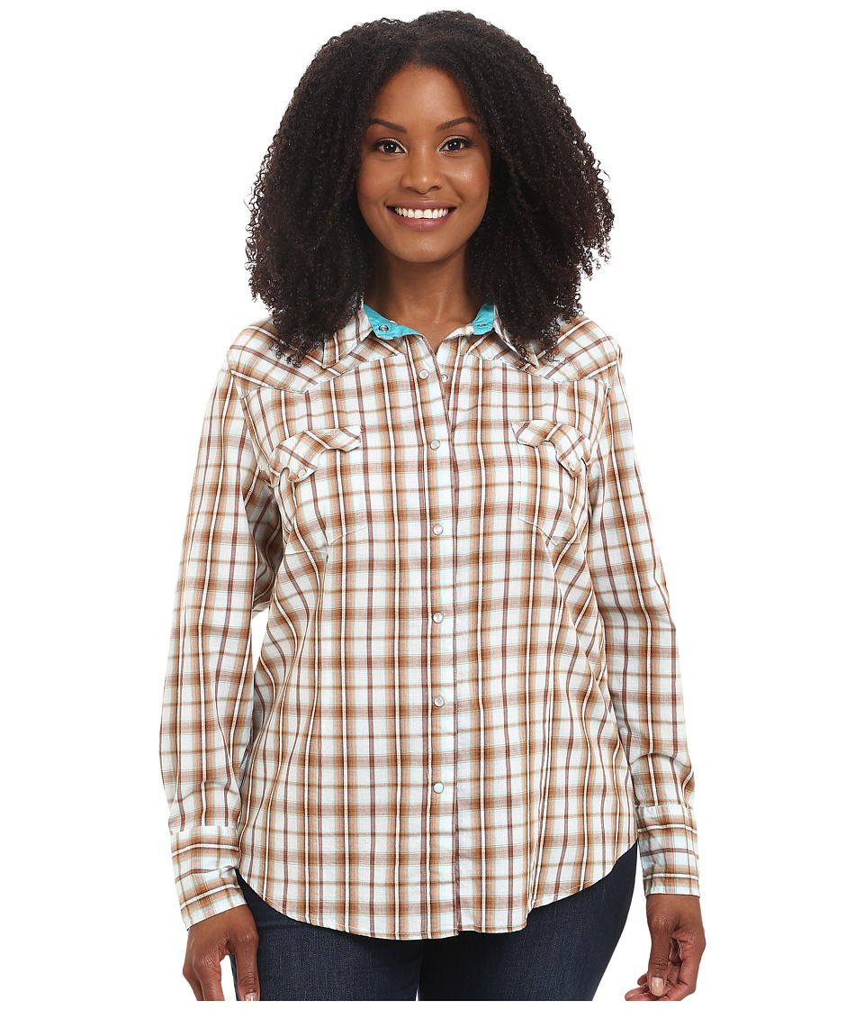 Roper - Plus Size 9535 Dobby Plaid (Brown) Women's Clothing