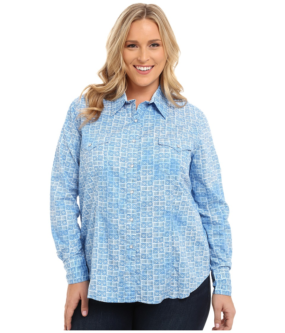 Roper - Plus Size 9525 Basket Weave Print (Blue) Women's Clothing