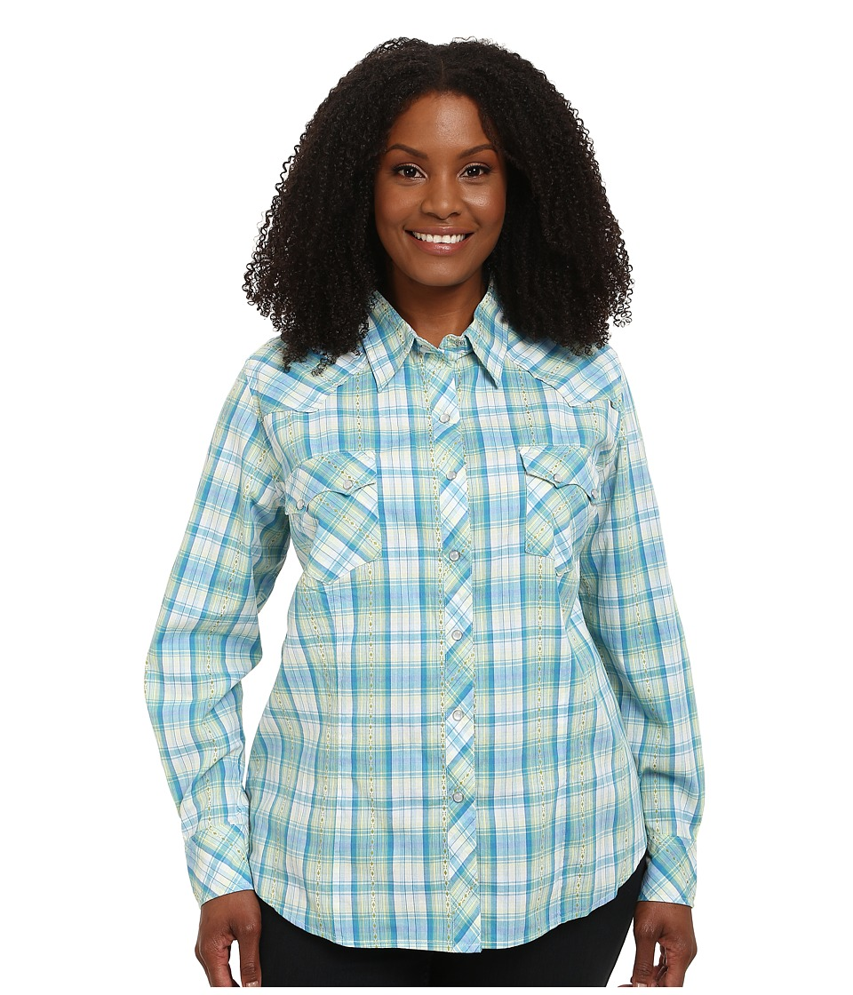 Roper - Plus Size 9533 Sand Dune Plaid (Blue) Women's Clothing
