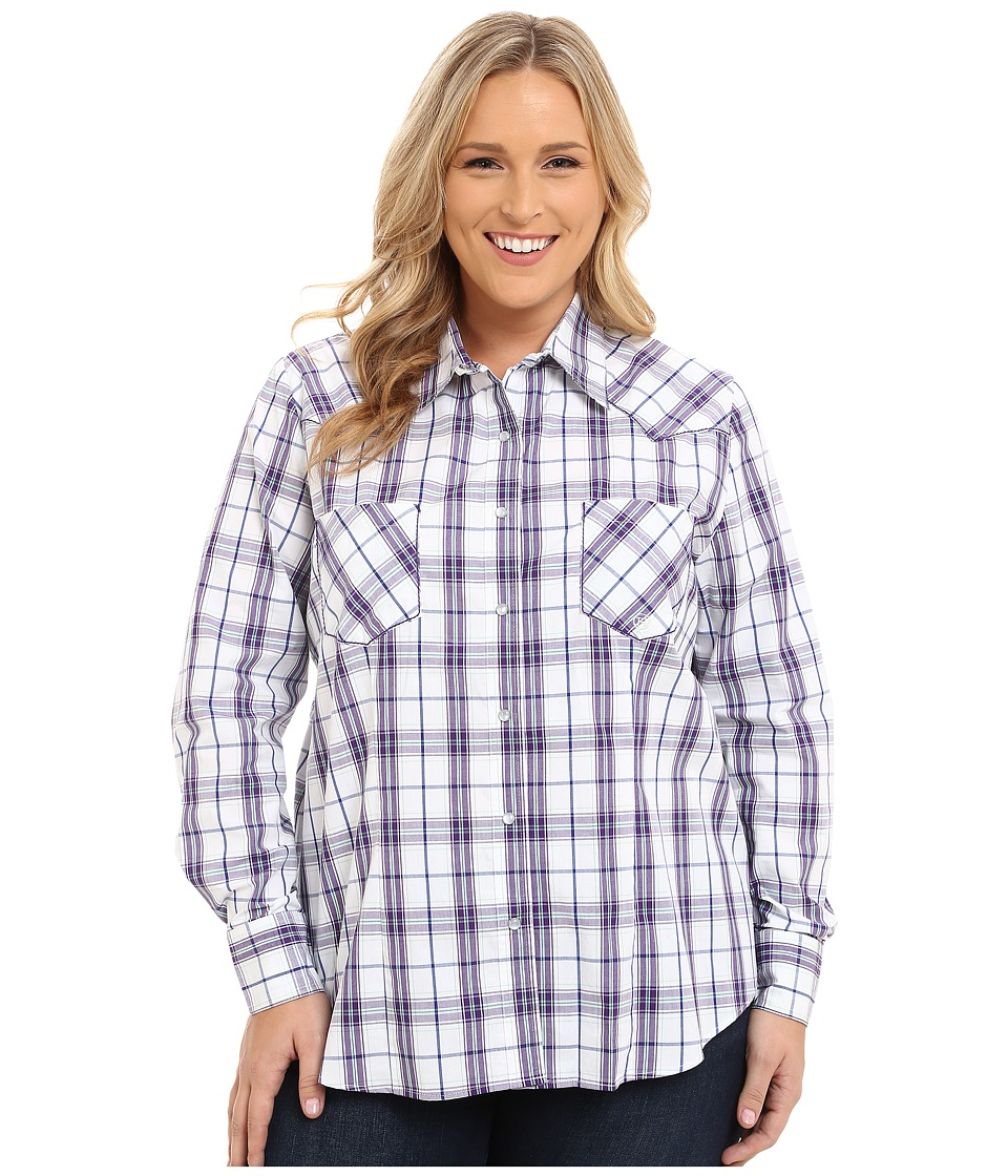 Roper - Plus Size 9537 Blue Berry Plaid (White) Women's Clothing