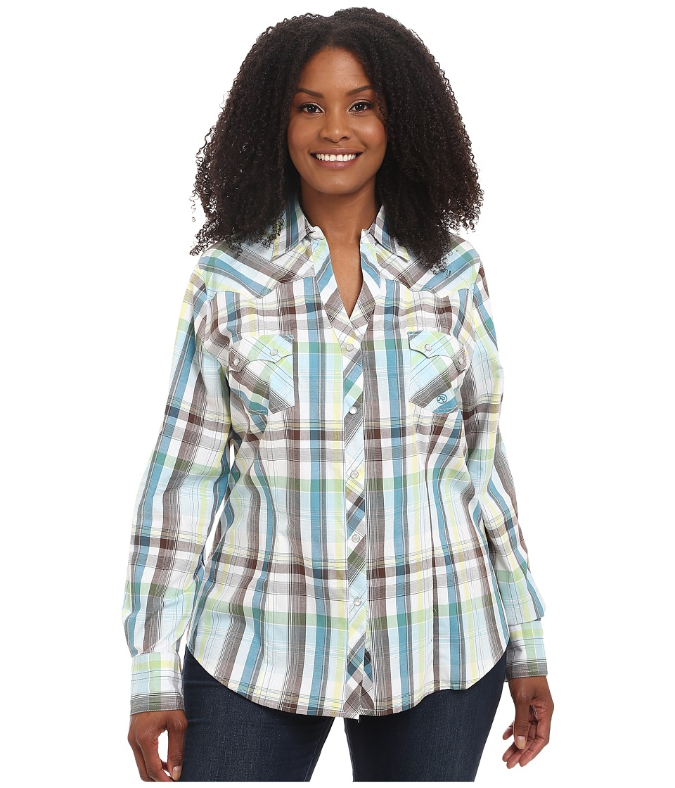 Roper - Plus Size 9542 Natures Plaid (Blue) Women's Clothing