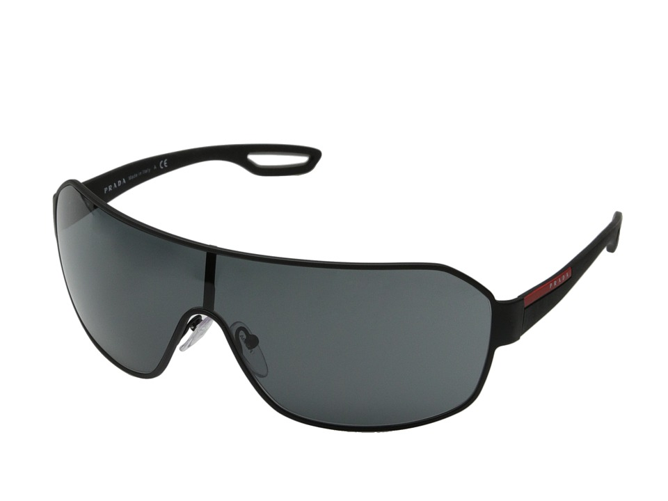 Prada Linea Rossa - 0PS 52QS (Black Rubber/Grey) Fashion Sunglasses