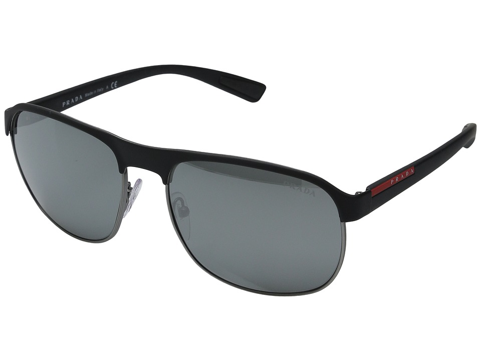Prada Linea Rossa - 0PS 51QS (Black/Gunmetal Rubber/Grey Silver Mirror) Fashion Sunglasses