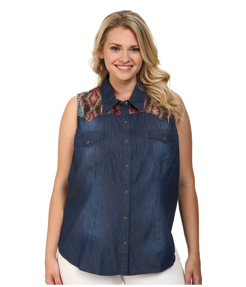 Roper - Plus Size 9633 5 Oz Indigo Denim Sleeveless Shirt (Blue) Women's Sleeveless