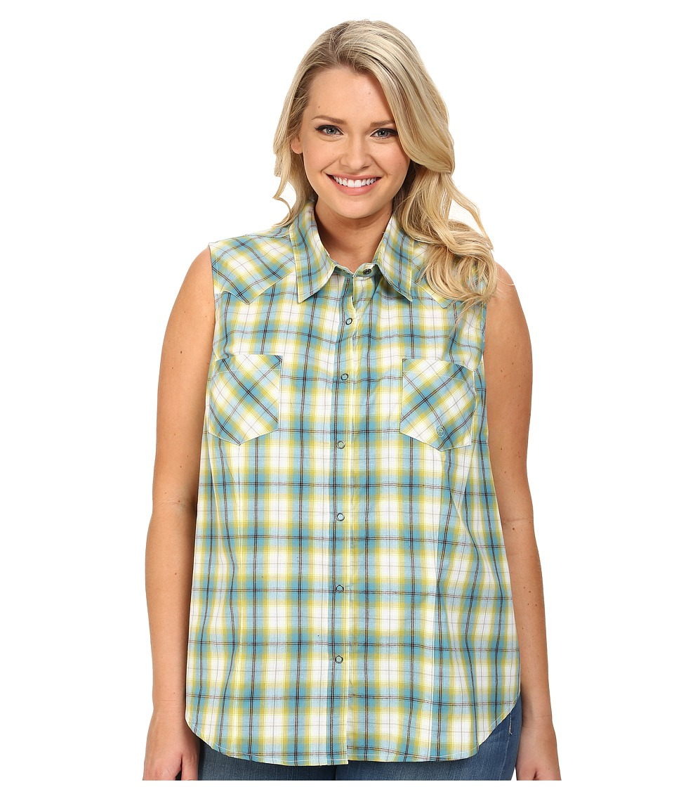 Roper - Plus Size 9541 Lemon Grass Plaid (Blue) Women's Clothing