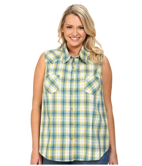 Roper - Plus Size 9541 Lemon Grass Plaid (Blue) Women's Clothing
