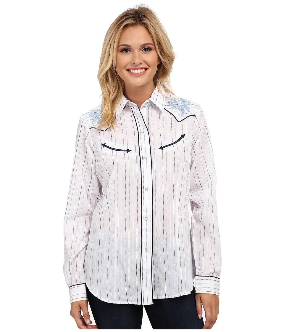 Roper - 9658 Multi Blue Stripe (Blue) Women's Long Sleeve Button Up