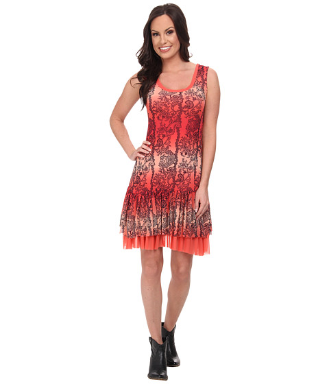 Roper - 9589 Coral Paisley Print Mesh Tank Dress (Red) Women's Dress