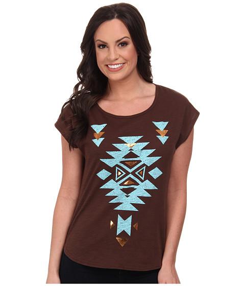 Roper - 9597 C/P Slub Jersey Slouchy Tee (Brown) Women's T Shirt