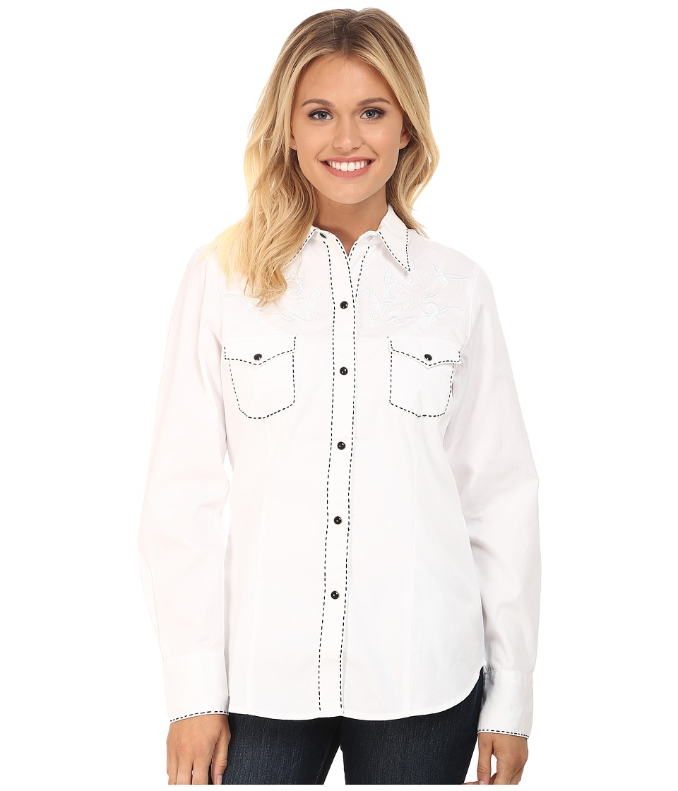 Roper - 100 Contrast Twill w/ Tonal Victorian Emb (White) Women's Clothing