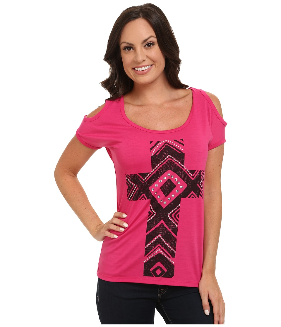Roper 9598 Poly Spandex Cold Shoulder Tee (Pink) Women