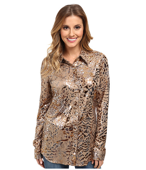 Roper - 9618 Poly Jersey Shirt (Brown) Women's Long Sleeve Button Up