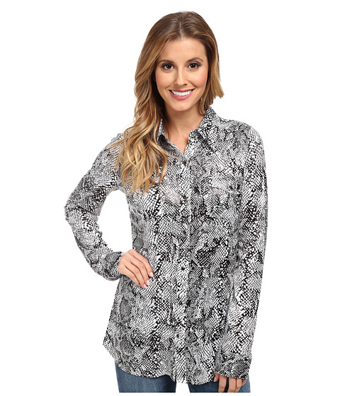 Roper - 9619 Poly Jersey Retro Shirt (Black) Women's Long Sleeve Button Up