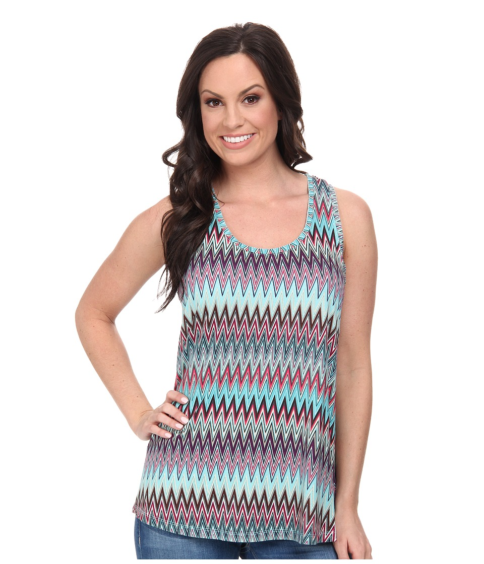 Stetson - 9574 Aztec Print Racer Back Tank (Blue) Women's Sleeveless