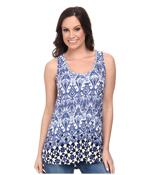 Stetson - 9705 Border Tile Print Racer Back Tank (Blue) Women's Sleeveless