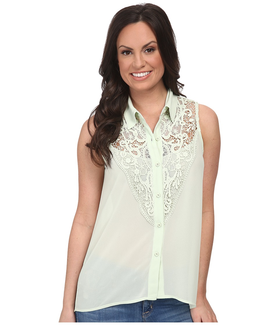 Roper - 9610 Solid Georgette Sleeveless Blouse (Green) Women