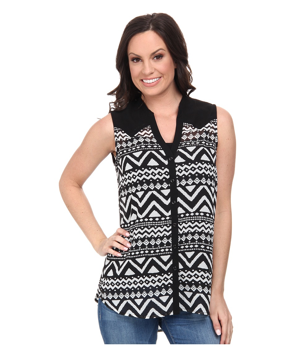 Roper - 9592 Black White Aztec Print Georgette (Black) Women's Blouse