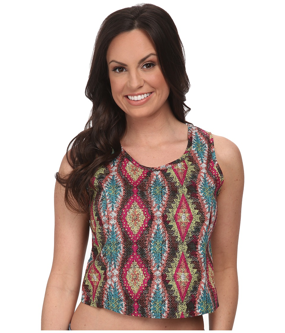 Roper - 9593 Multicolor Aztec Print Crop Shirt (Blue) Women's Clothing
