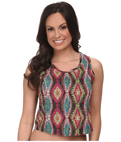 Roper - 9593 Multicolor Aztec Print Crop Shirt (Blue) Women