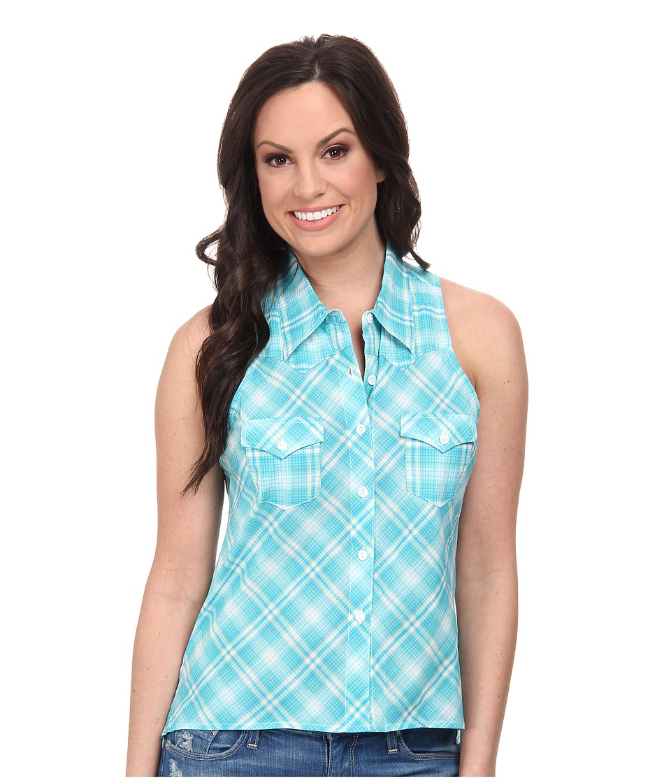 Roper - 9590 Turquoise Ombre Plaid Sleeveless Shirt (Blue) Women's Sleeveless