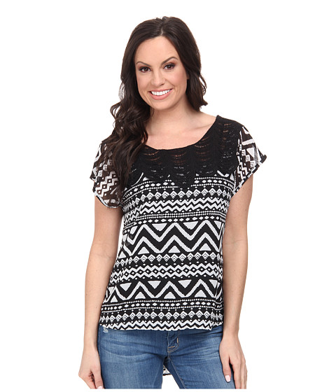 Roper - 9592 Black/White Aztec Print Georgette (Black) Women's T Shirt