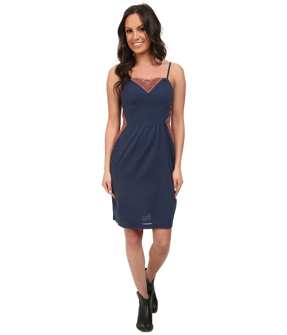Roper - 9706 Navy Cotton Dress w/ Embroidery (Blue) Women's Dress