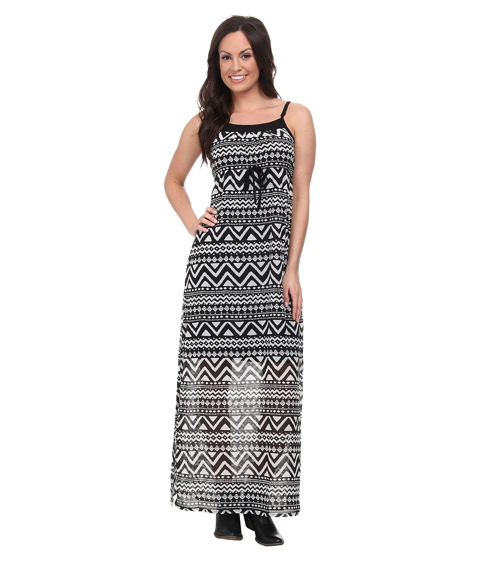 Roper - 9592 Black/White Aztec Print Georgette Dress (Black) Women's Dress