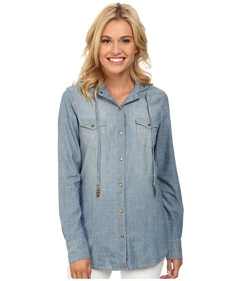 Stetson - 9611 Chambray Shirt (Blue) Women's Long Sleeve Button Up