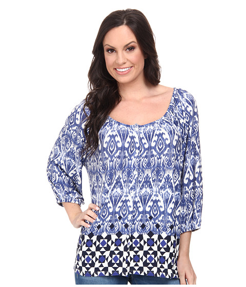 Stetson - 9705 Border Tile Print Peasant Blouse (Blue) Women