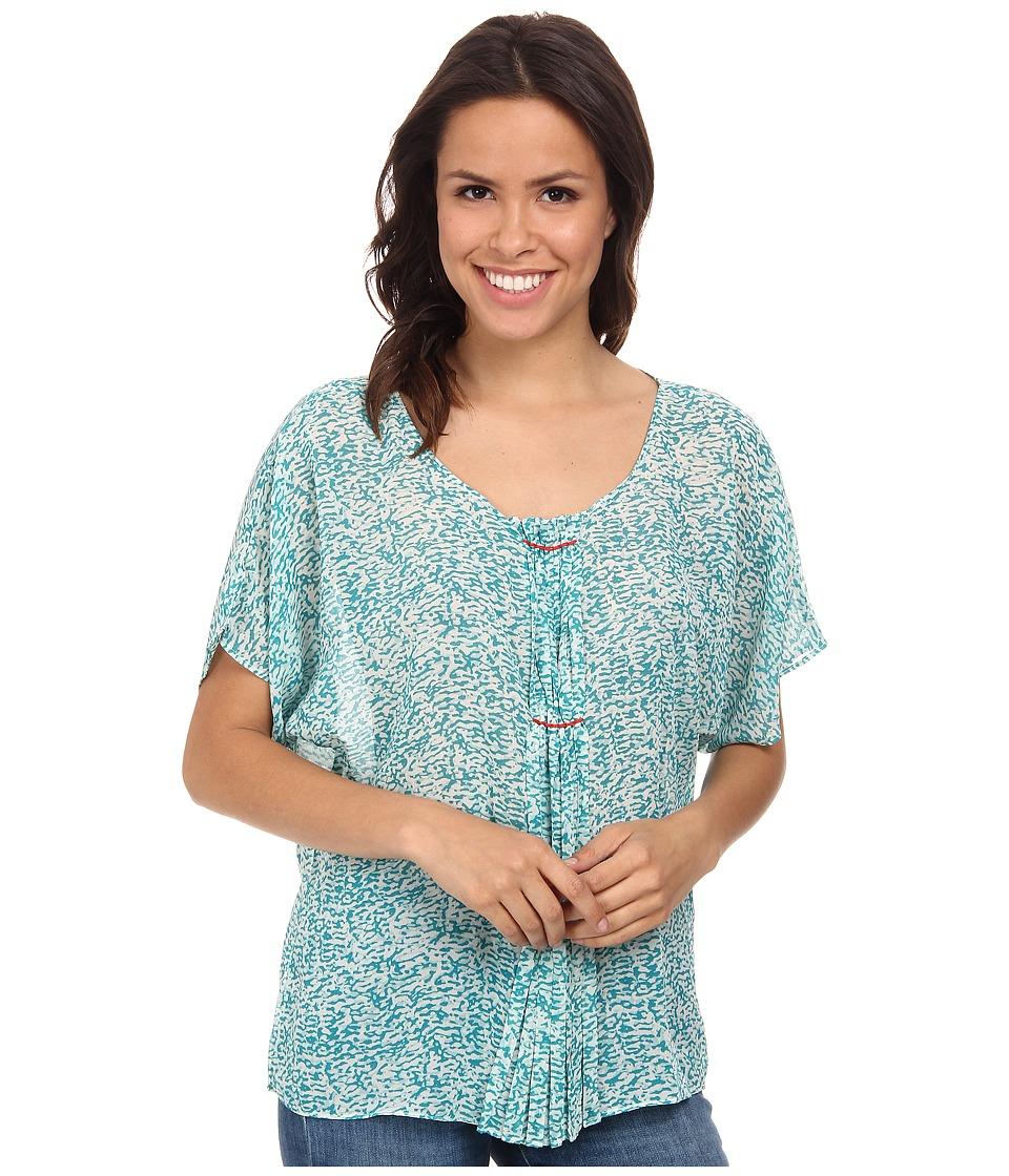 Stetson - 9575 Poly Chiffon Peasant Blouse (Blue) Women