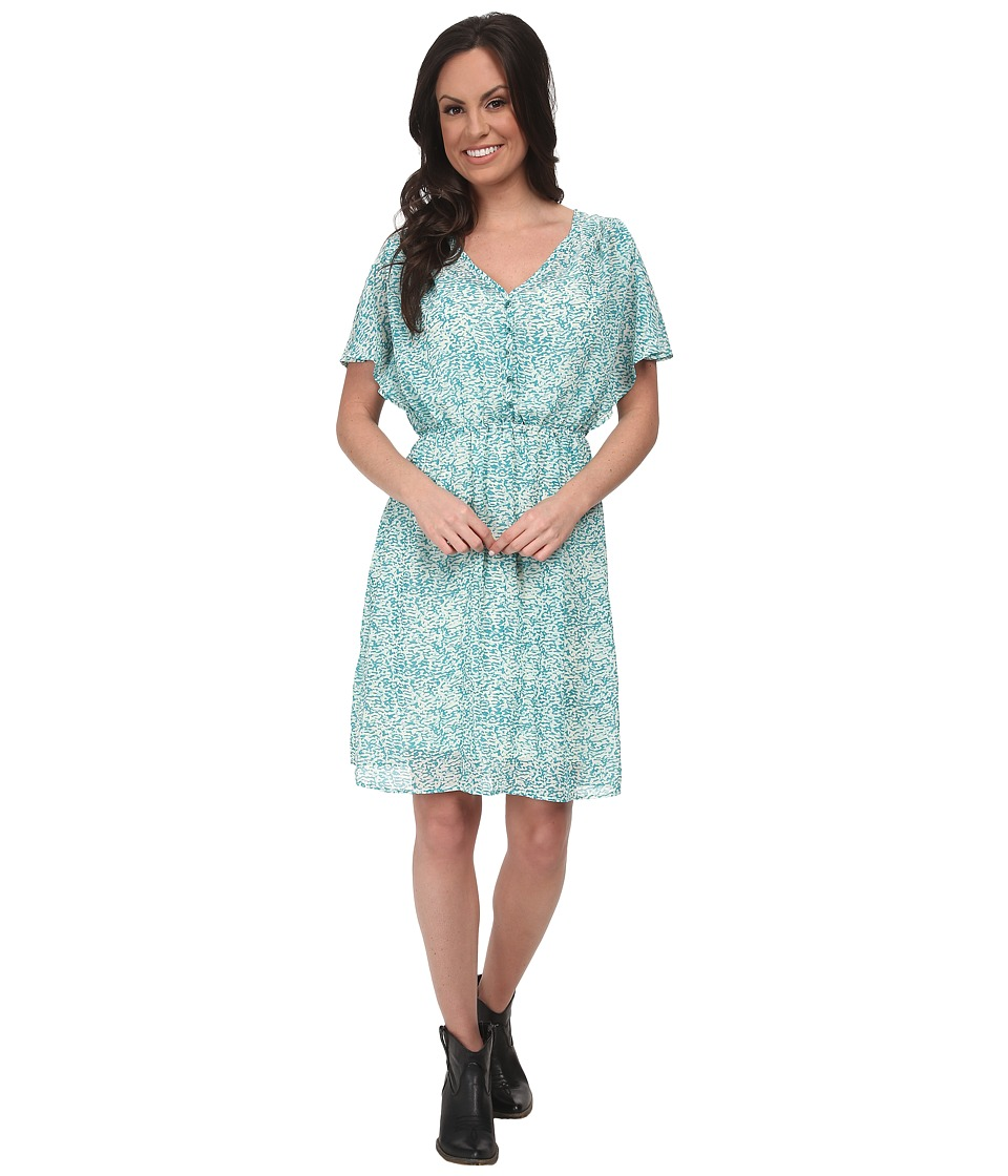 Stetson - 9575 Animal Printed Chiffon Dress (Blue) Women's Dress