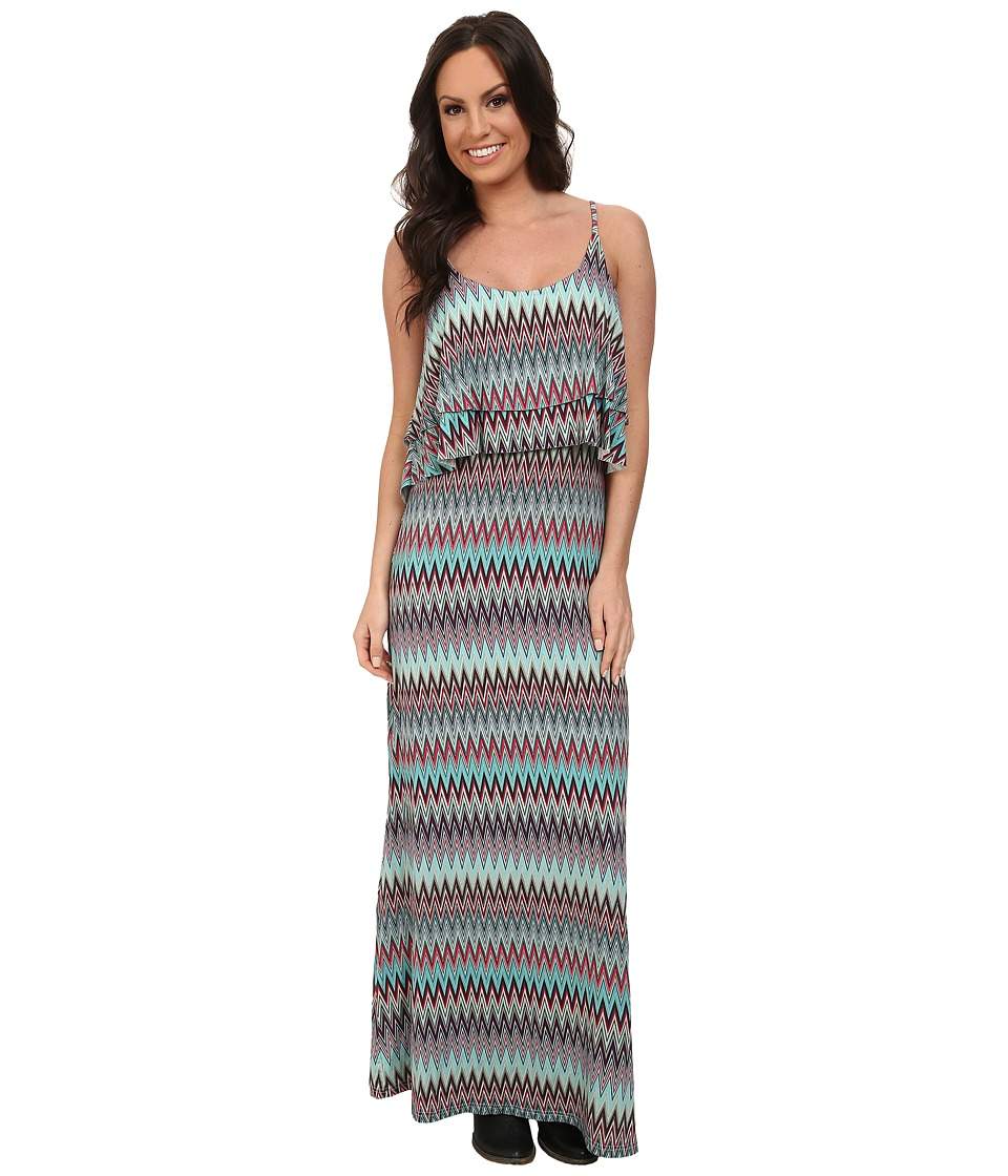Stetson - 9574 Aztec Print Maxi Dress (Blue) Women's Dress