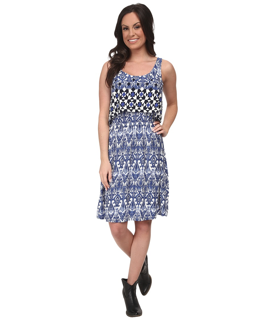 Stetson - 9705 Border Tile Print Tank Dress (Blue) Women's Dress