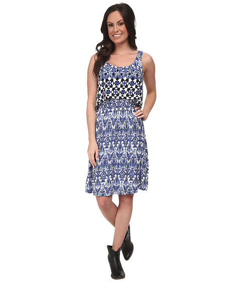 Stetson - 9705 Border Tile Print Tank Dress (Blue) Women