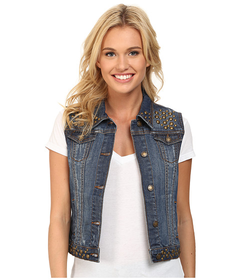 Stetson - Denim Vest Jacket w/ Studding (Blue) Women's Jacket