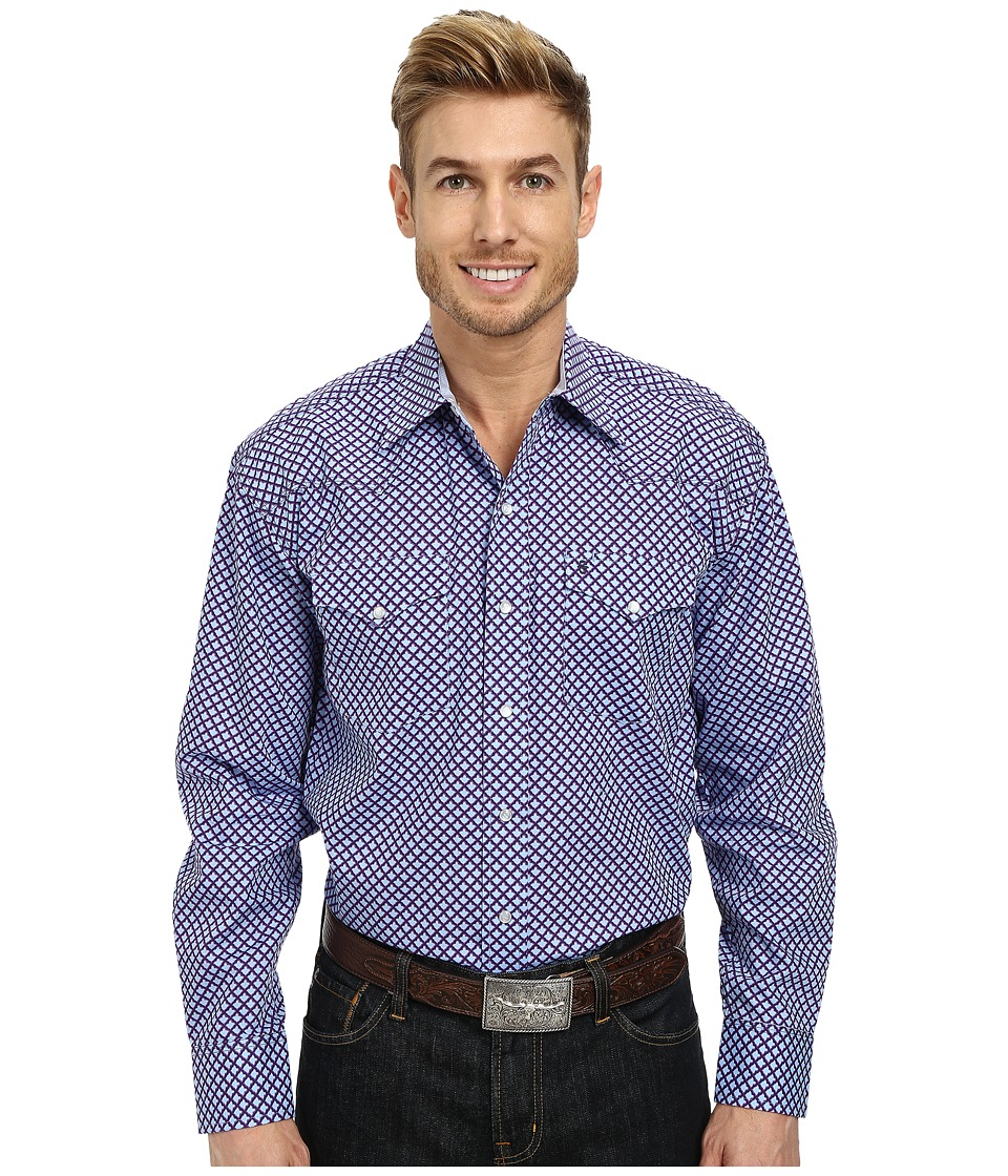 Stetson - 9567 Indo Persian Print On Poplin (Purple) Men's Long Sleeve Button Up