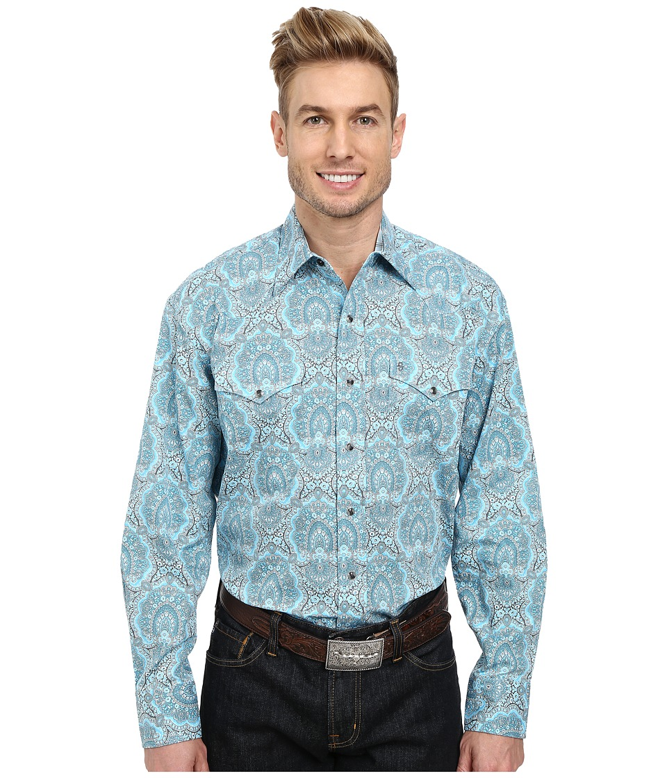 Stetson - 9562 Peacock Paisley Print On Poplin (Blue) Men's Long Sleeve Button Up