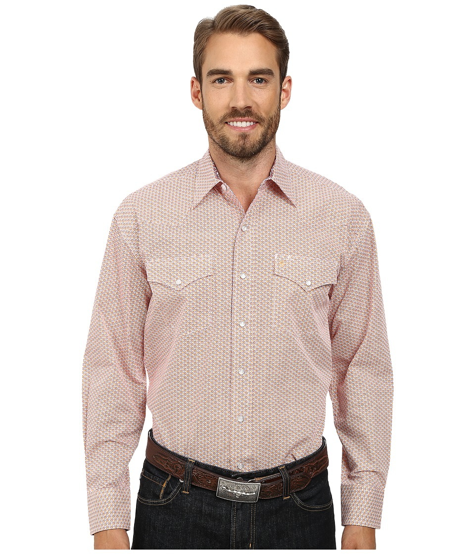Stetson - 9564 Tri Circle Print On Poplin (Orange) Men's Long Sleeve Button Up