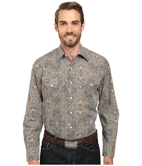 Stetson - 9565 Highland Paisley Print On Poplin (Brown) Men's Long Sleeve Button Up