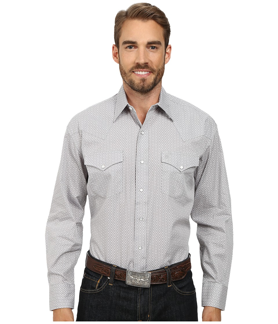 Stetson - 9566 Optic Print On Poplinn Poplin (Grey) Men's Long Sleeve Button Up
