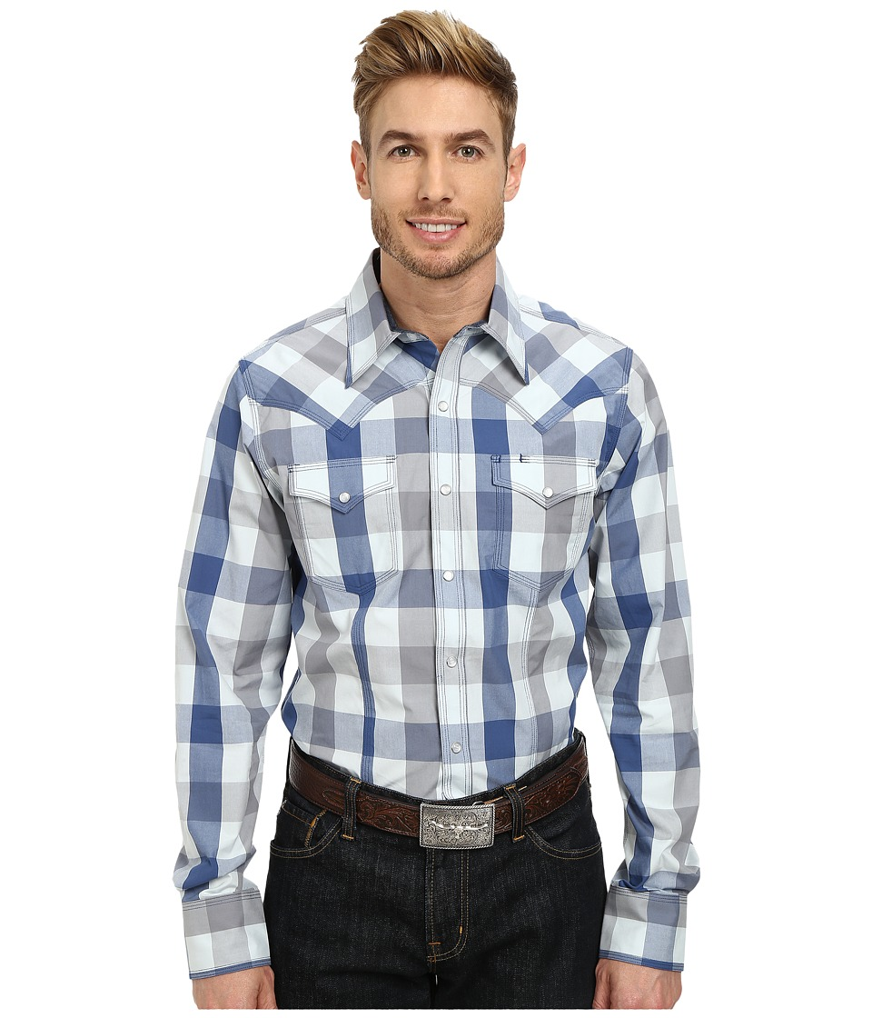 Stetson - 9569 Buffalo Check Flat Weave Yd (Blue) Men's Clothing