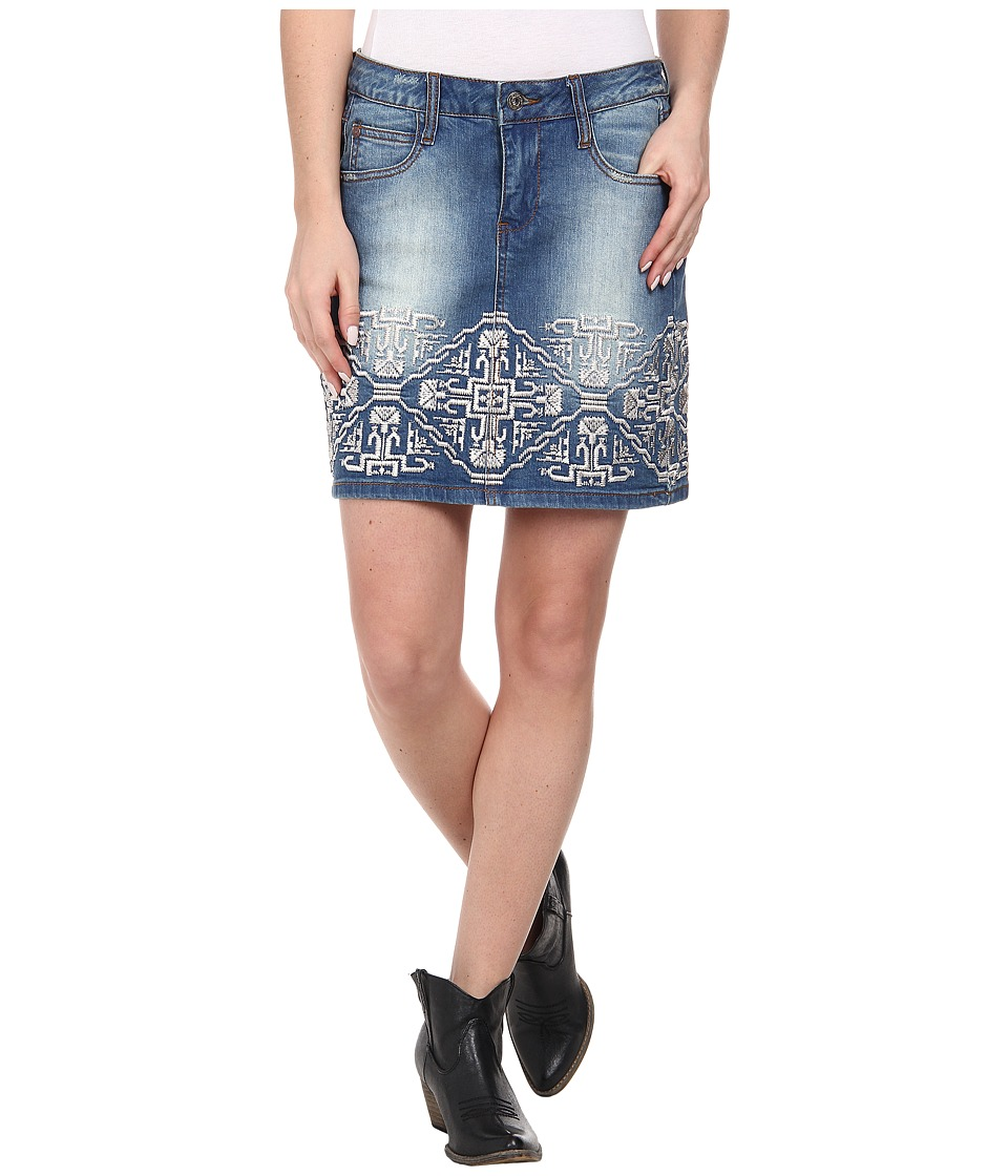 Stetson - Denim Short Skirt w/ Emb On Front Back (Blue) Women's Skirt