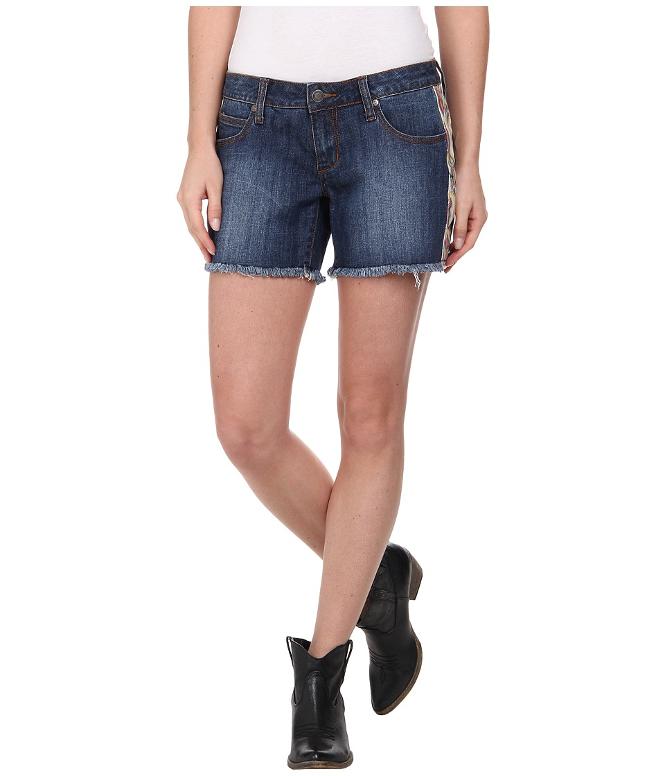 Stetson - Denim Short w/ Printed Side Panels (Blue) Women's Shorts