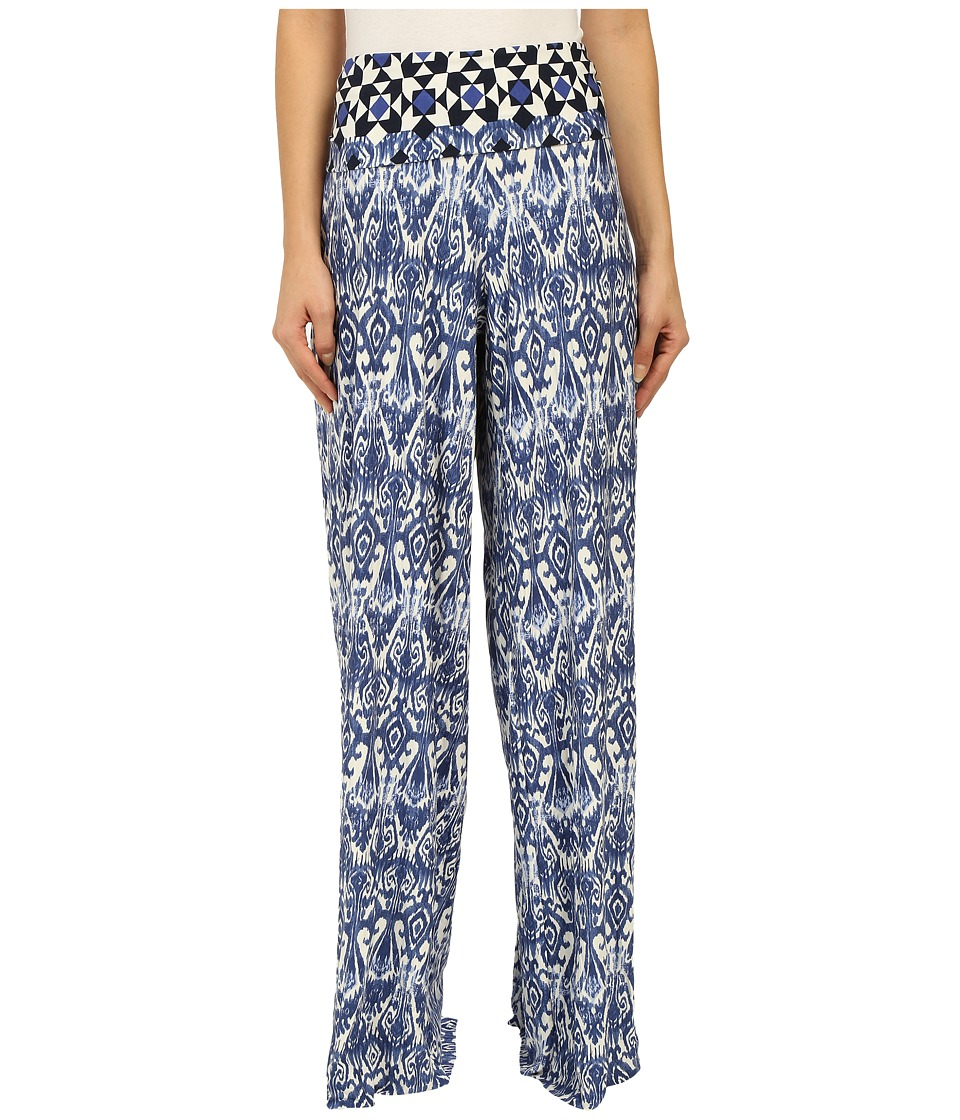 Stetson - 9705 Border Tile Print Full Leg Pant (Blue) Women's Casual Pants
